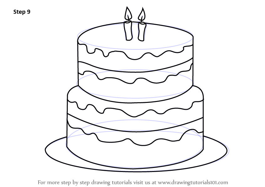 Learn How To Draw A Birthday Cake Cakes Step By Drawing Tutorials
