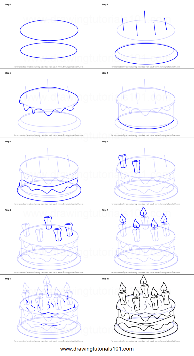 Images Of Cake To Draw : How to Draw Cake with Candles printable step by step ...