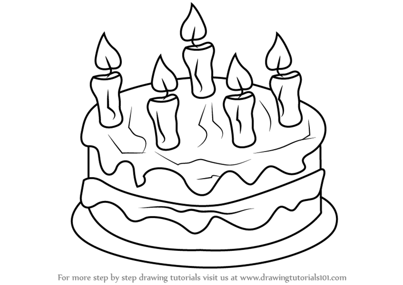 How To Draw Cake Images : Learn How to Draw Cake with Candles (Cakes) Step by Step ...