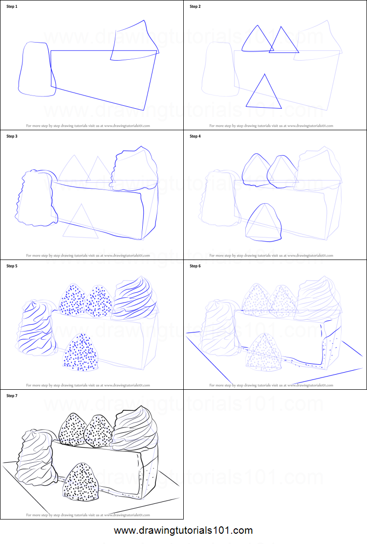 How to draw a cheese cake printable step by step drawing for How to draw cheese step by step