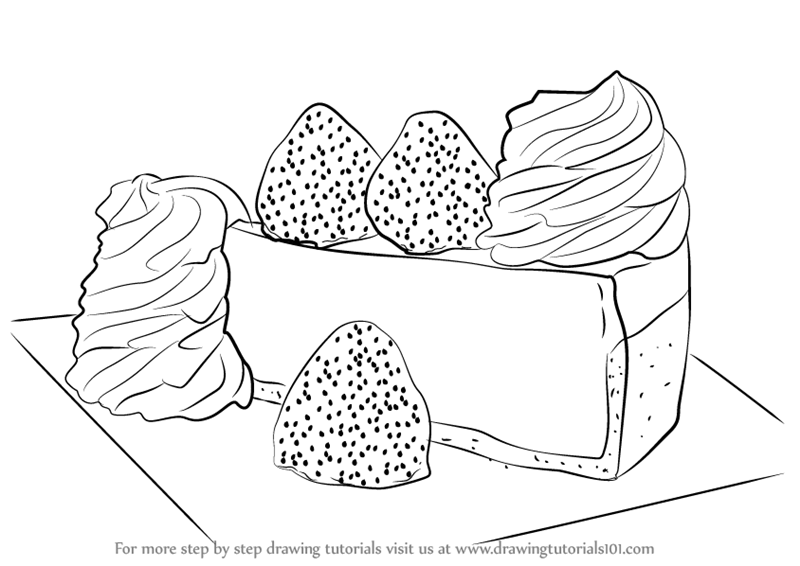 Drawing Images Of Cake : Learn How to Draw a Cheese Cake (Cakes) Step by Step ...
