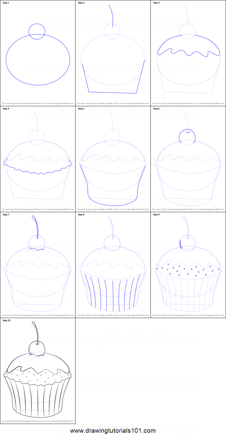 How to Draw Cupcake with Cherry printable step by step drawing sheet