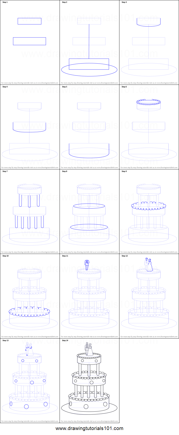 How to Draw a Wedding Cake printable step by step drawing sheet ... for Drawing Cake Step Step  66plt