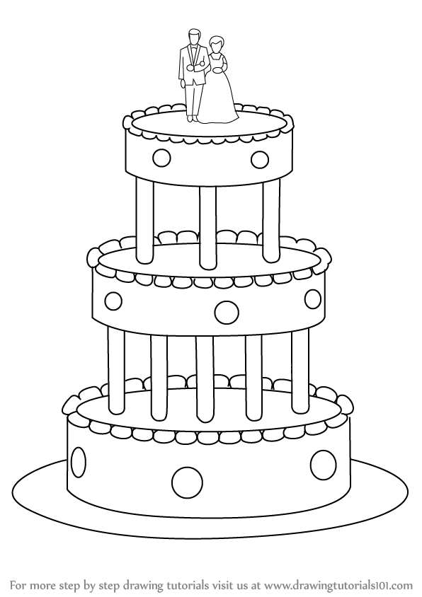 How To Draw Cake Images : Learn How to Draw a Wedding Cake (Cakes) Step by Step ...