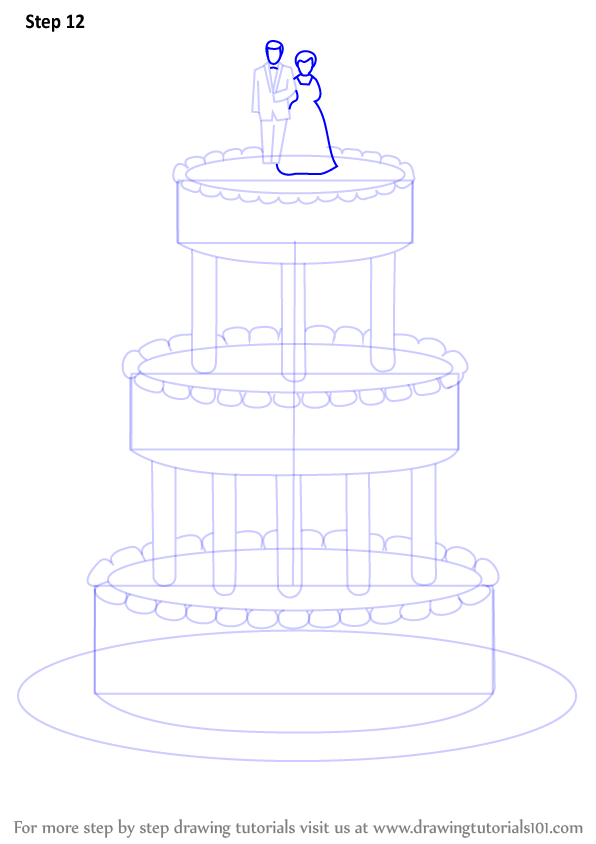 Step by Step How to Draw a Wedding Cake ...