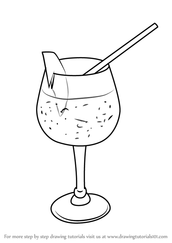learn how to draw a cocktail glass drinks step by step drawing rh drawingtutorials101 com Martini Glass Coloring Page how to draw a martini glass in illustrator