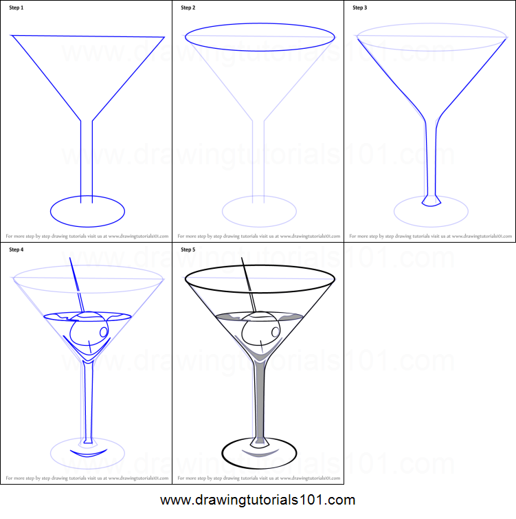 how to draw a martini printable step by step drawing sheet rh drawingtutorials101 com Lighted Martini Glass Centerpiece how to draw a martini glass in illustrator