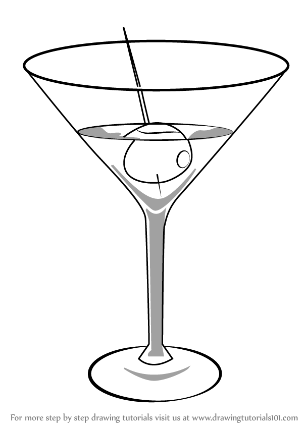 learn how to draw a martini drinks step by step drawing tutorials rh drawingtutorials101 com Martini Glass Coloring Page Martini Glass Outline