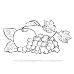 How to Draw Grapes and Apple