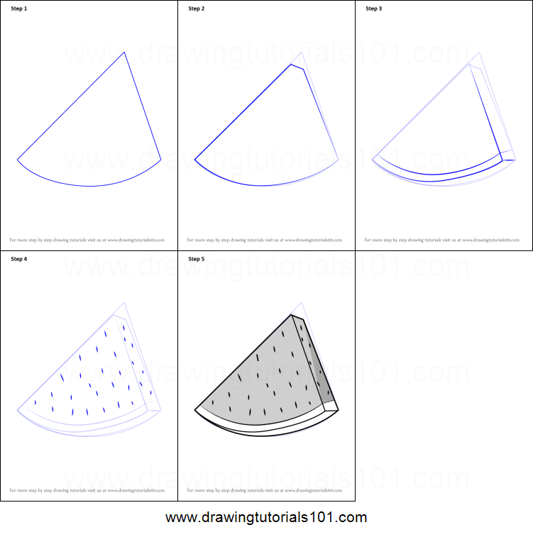 How To Draw Watermelon Slice Printable Step By Step Drawing Sheet