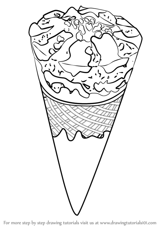 Learn How To Draw Chocolate Ice Cream Cone Ice Creams Step By Step
