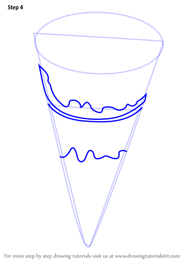 Step By Step How To Draw Chocolate Ice Cream Cone