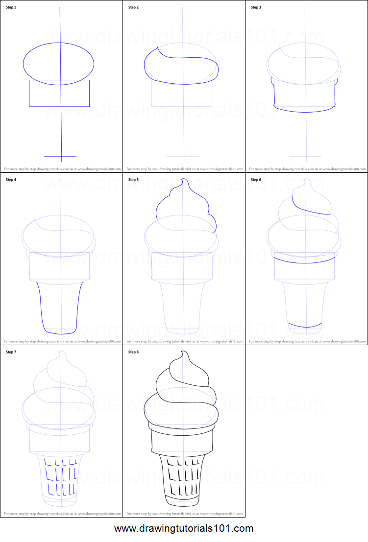 How To Draw Ice Cream Cone Printable Step By Step Drawing Sheet