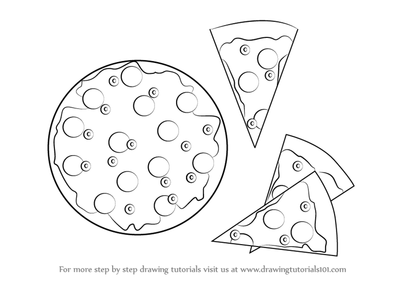 Learn How To Draw Pizza And Slices Of Pizza Pizzas Step By