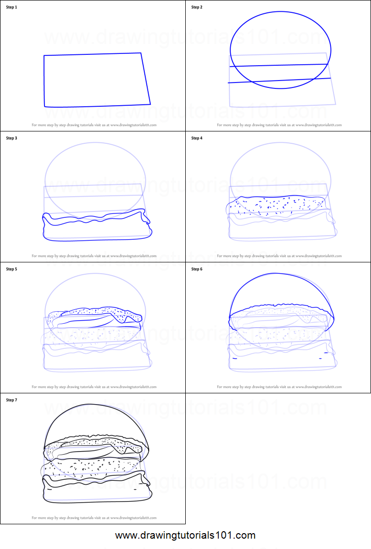 how to draw a sandwich easy steps