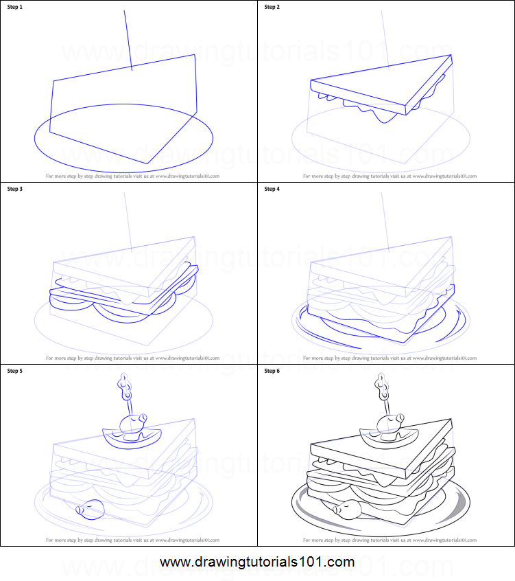 how to draw a club sandwich printable step by step drawing