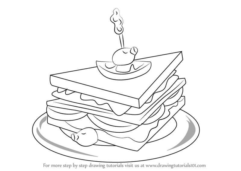 ... How to Draw a Club Sandwich (Snacks) Step by Step : Drawing Tutorials