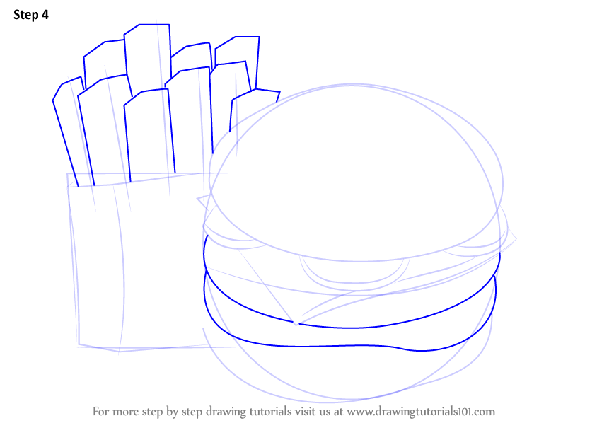 Learn How to Draw Hamburger and Fries (Snacks) Step by ...