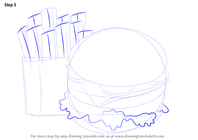 learn how to draw hamburger and fries  snacks  step by