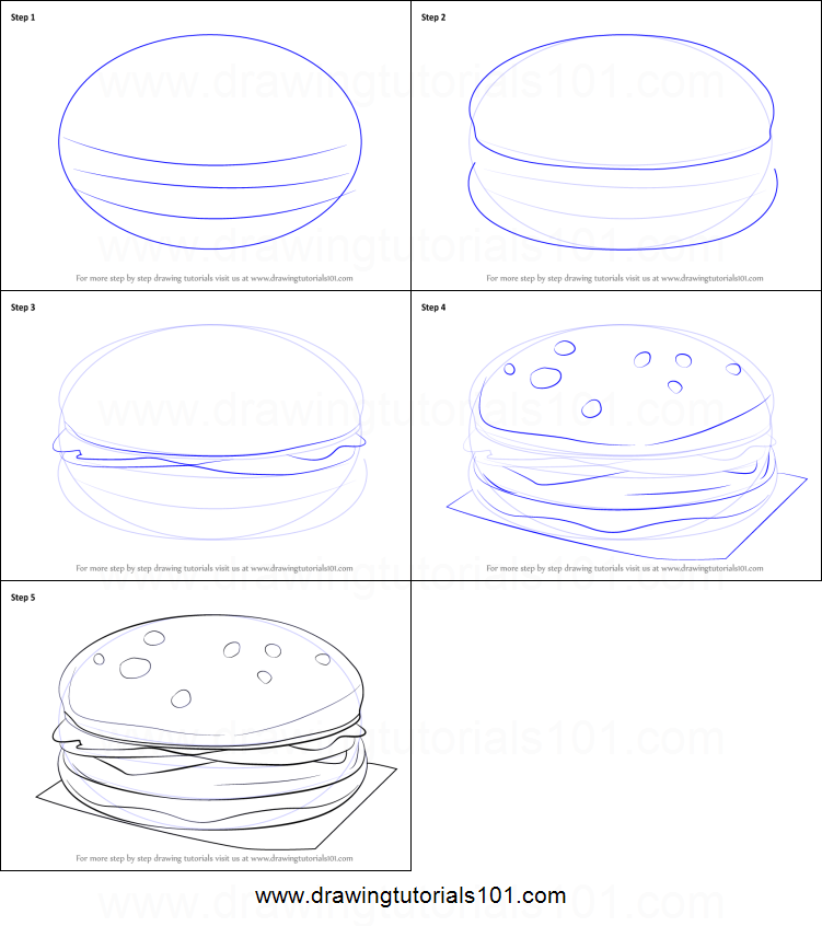 how to draw a hamburger printable step by step drawing sheet