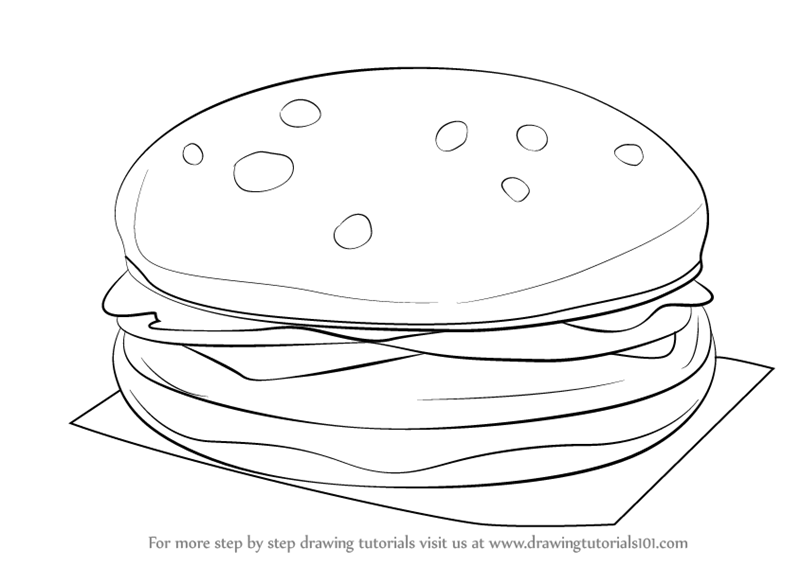 Learn How to Draw a Hamburger (Snacks) Step by Step ...