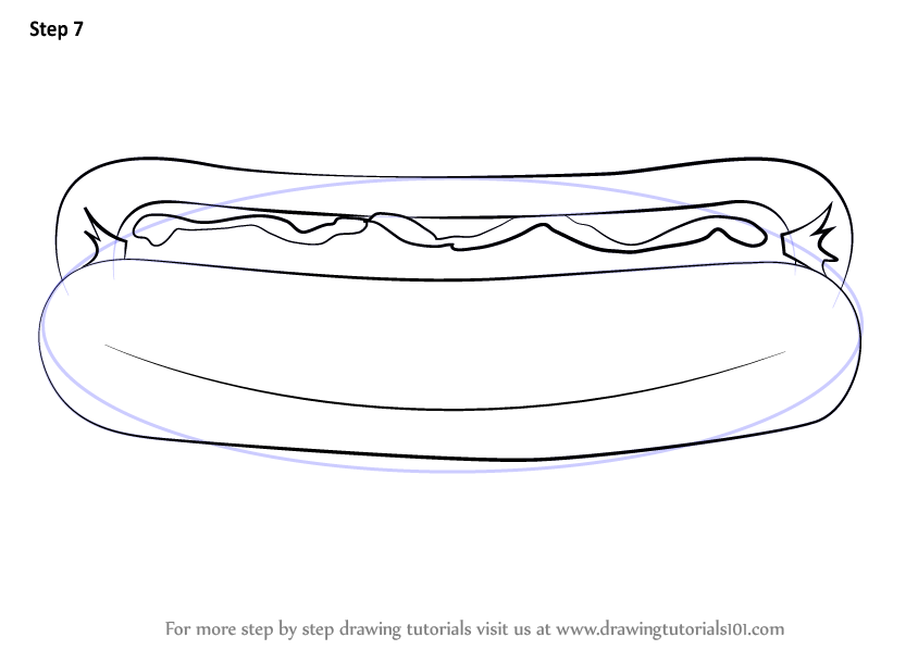 learn how to draw hotdog  snacks  step by step   drawing
