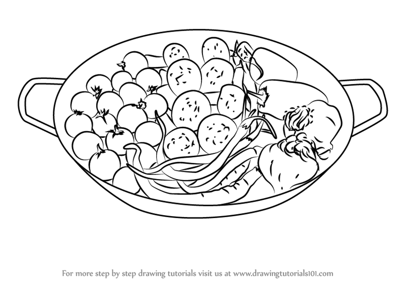 Learn How to Draw Fresh Vegetable Pan (Special Dishes ...
