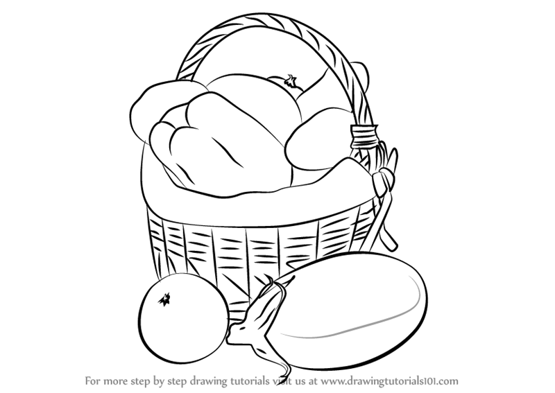 Learn how to draw vegetable basket easy vegetables step by step drawing tutorials