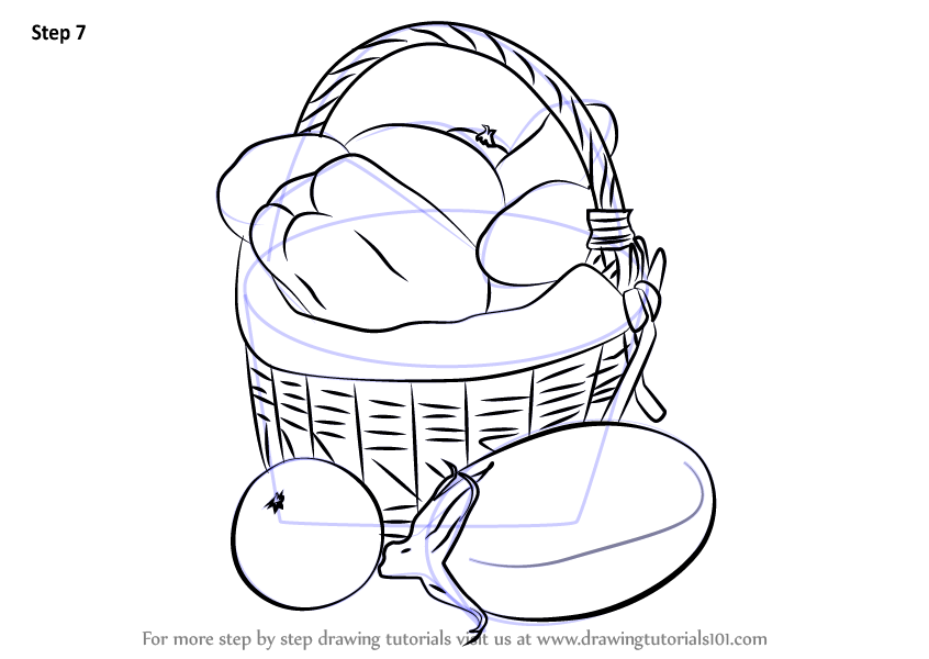 Learn How To Draw Vegetable Basket Easy Vegetables Step By Step