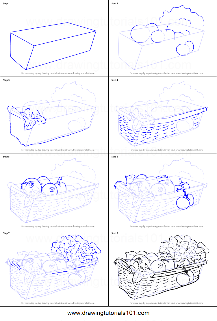 How To Draw Vegetable Basket Printable Step By Step Drawing Sheet