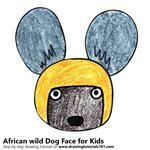 How to Draw an African wild Dog Face for Kids