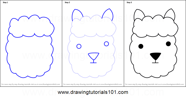 how to draw an alpaca face for kids printable step by step drawing sheet drawingtutorials101com - How To Draw Animals Step By Step For Kids Printable