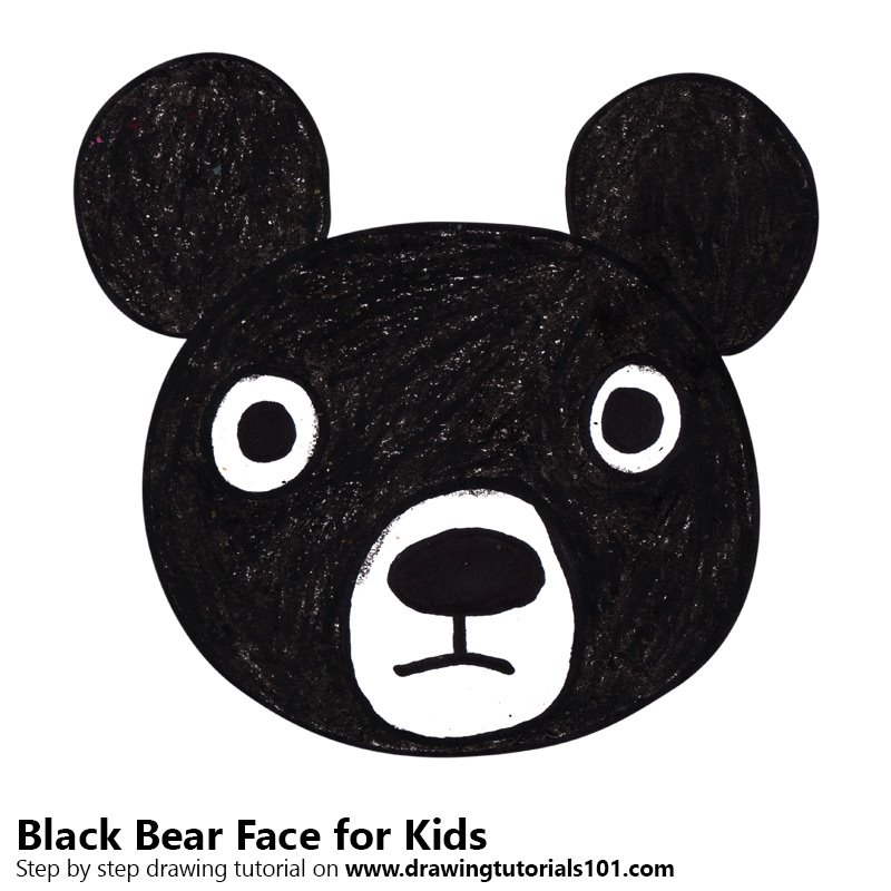How to draw a black bear face for kids
