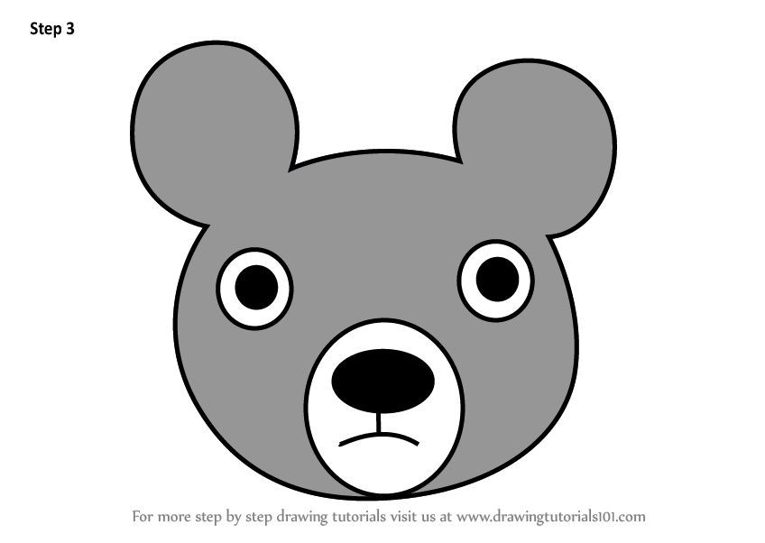 Learn How To Draw A Black Bear Face For Kids Animal Faces For Kids