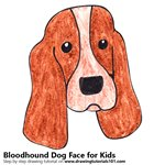 How to Draw a Bloodhound Dog Face for Kids