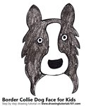 How to Draw a Border Collie Dog Face for Kids