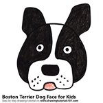 How to Draw a Boston Terrier Dog Face for Kids