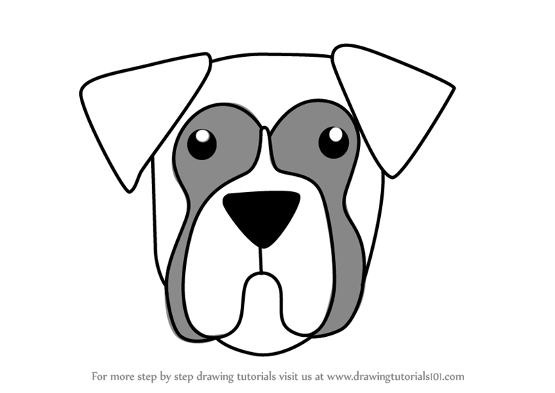 The Pictures For Boxer Dog Drawing Simple
