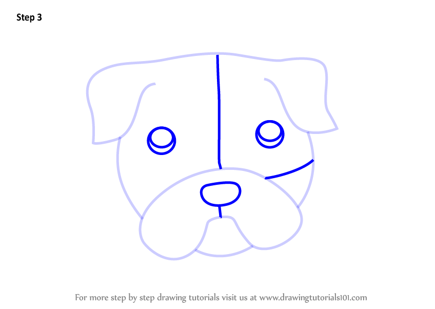 how to draw a dog step by step face