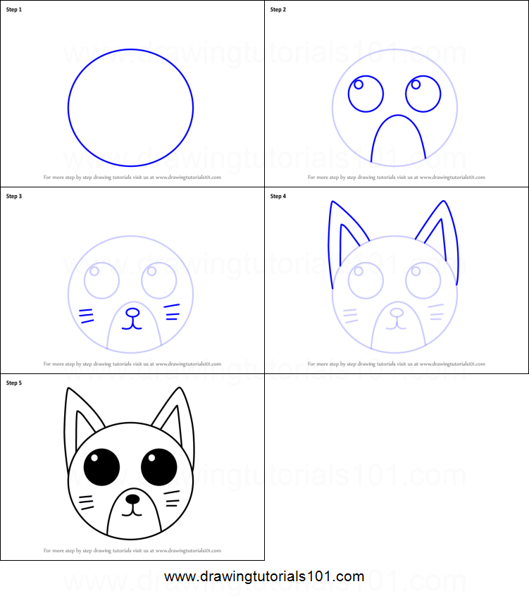 How To Draw A Cat Face For Kids Printable Step By Step Drawing Sheet