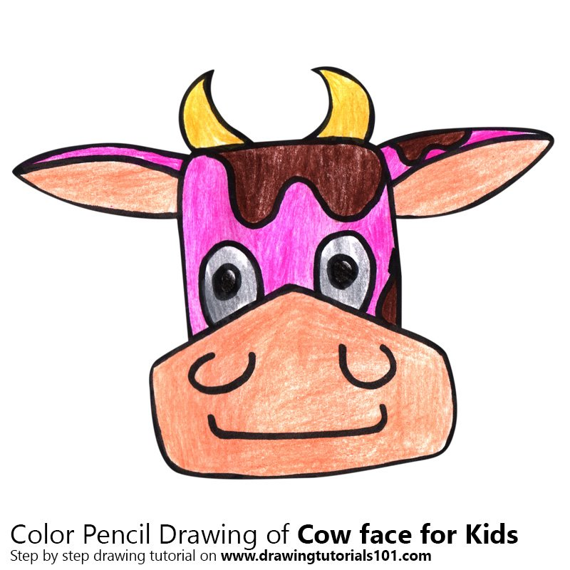 Learn How To Draw A Cow Face For Kids Animal Faces For Kids Step