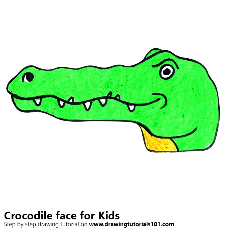 Learn How To Draw A Crocodile Face For Kids Animal Faces For Kids