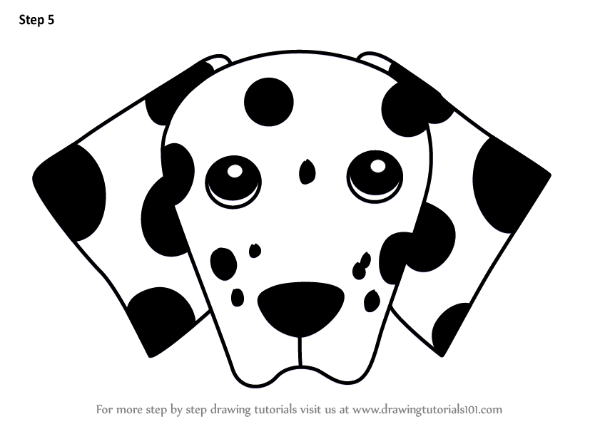 Learn How to Draw a Dalmation Dog Face for Kids (Animal ...