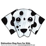 How to Draw a Dalmation Dog Face for Kids