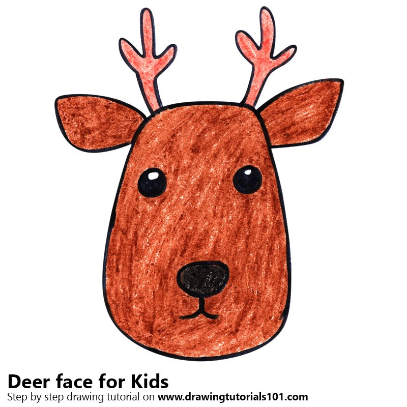 Learn How to Draw a Deer Face for Kids (Animal Faces for ...