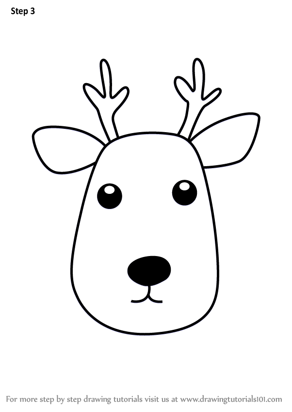 Learn How To Draw A Deer Face For Kids Animal Faces For Kids Step By Step Drawing Tutorials