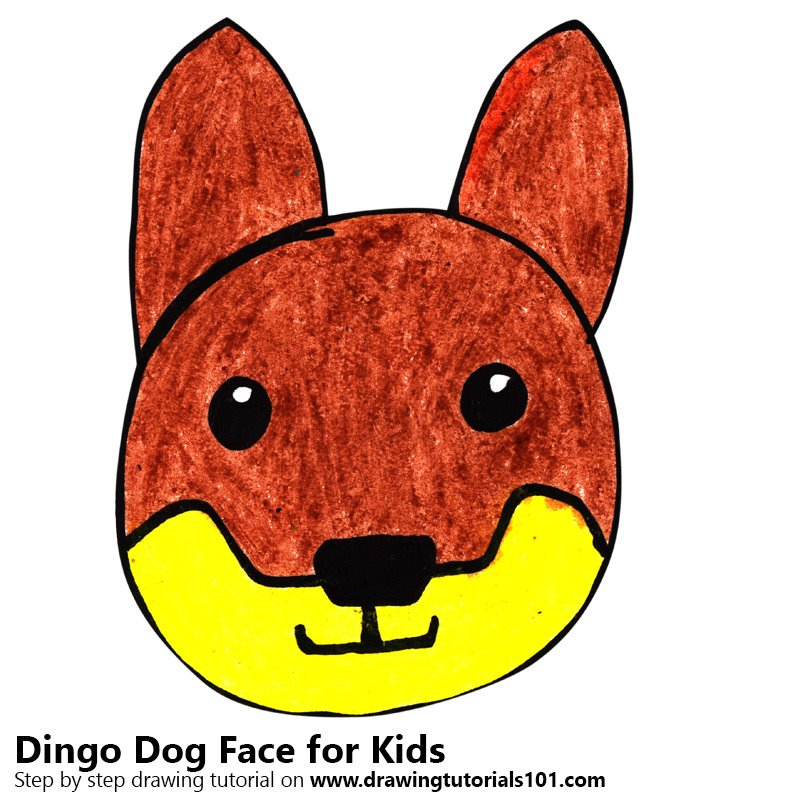 Learn How To Draw A Dingo Dog Face For Kids Animal Faces For Kids