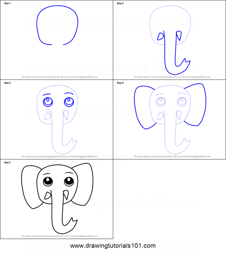 How To Draw A Cartoon Elephant Face Step By Step