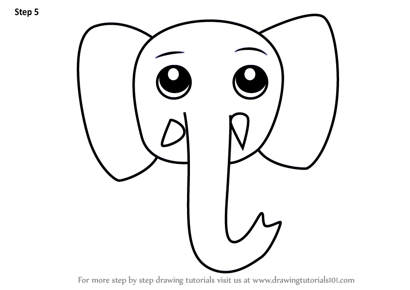 Learn How To Draw An Elephant Face For Kids Animal Faces For Kids