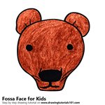 How to Draw a Fossa Face for Kids
